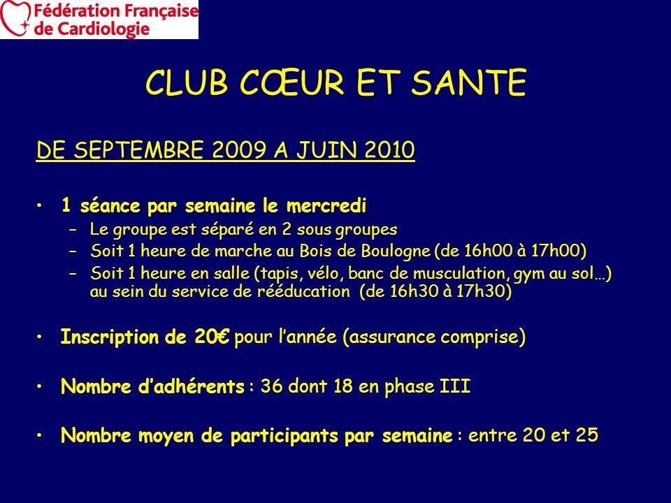 CLUB CŒUR ET SANTE DE SEPTEMBRE 2009 A JUIN 2010