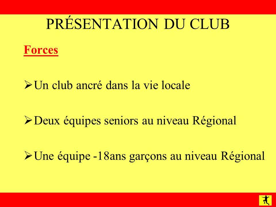 PRÉSENTATION DU CLUB Forces Un club ancré dans la vie locale