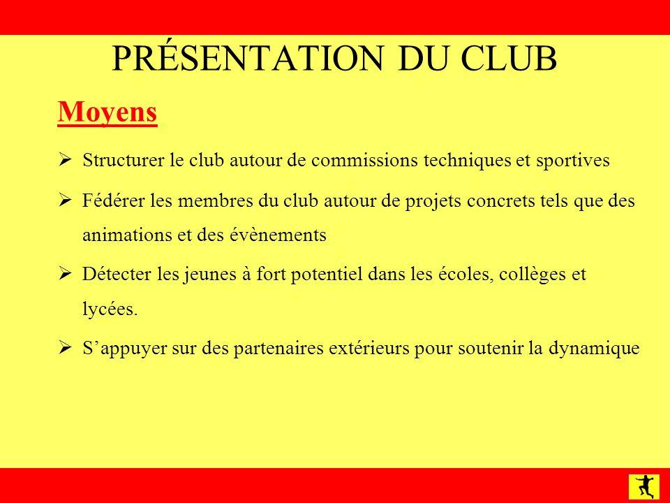 PRÉSENTATION DU CLUB Moyens