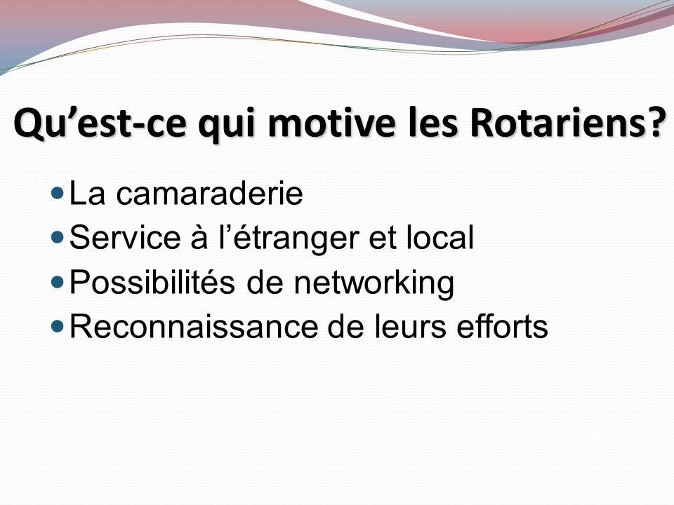 Qu'est-ce qui motive les Rotariens