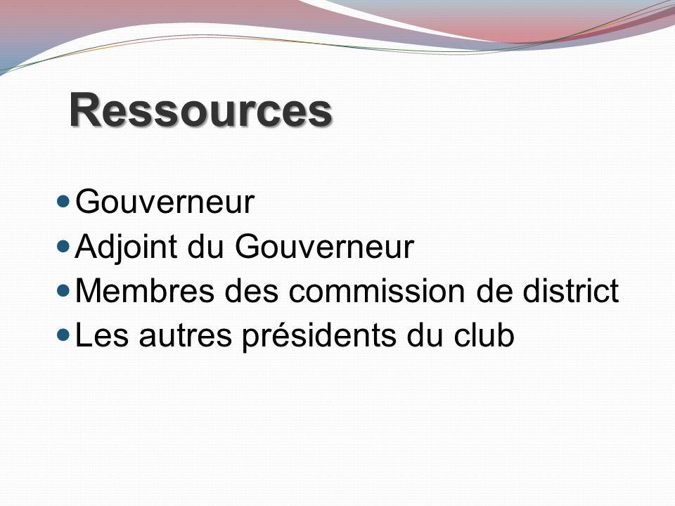 Ressources Gouverneur Adjoint du Gouverneur