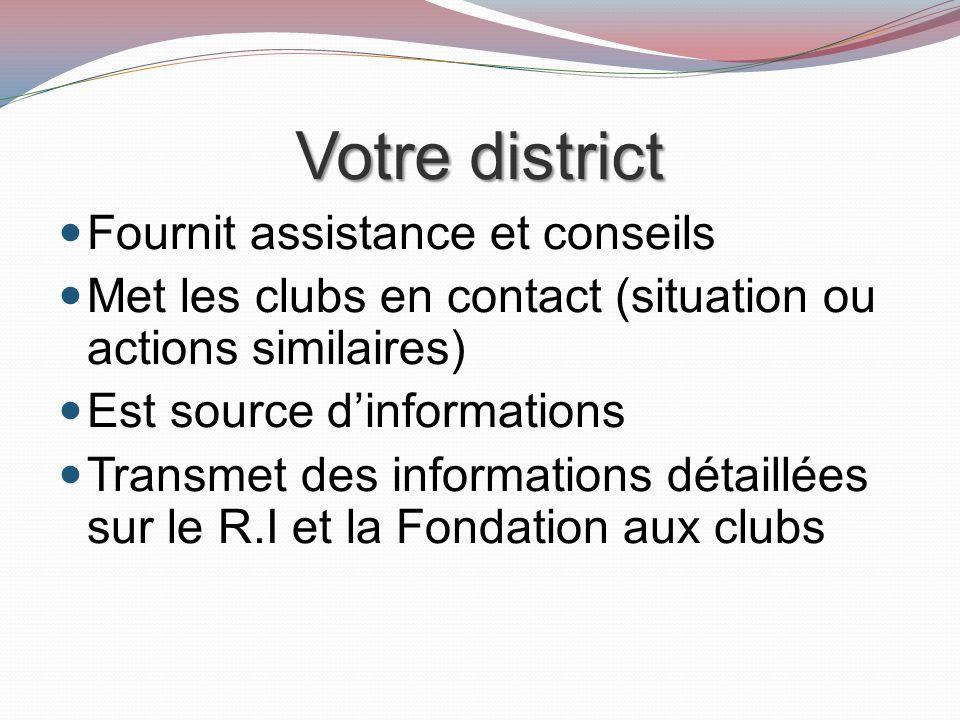 Votre district Fournit assistance et conseils