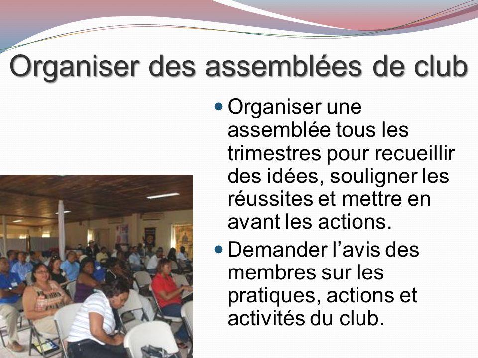 Organiser des assemblées de club