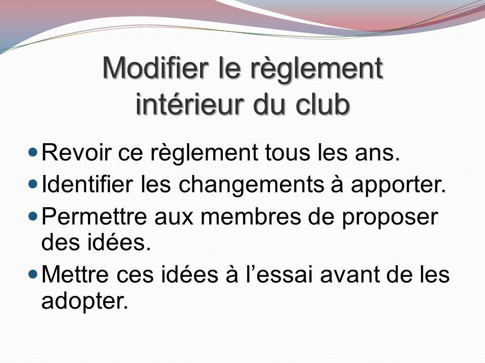 Modifier le règlement intérieur du club