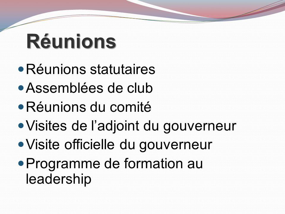 Réunions Réunions statutaires Assemblées de club Réunions du comité