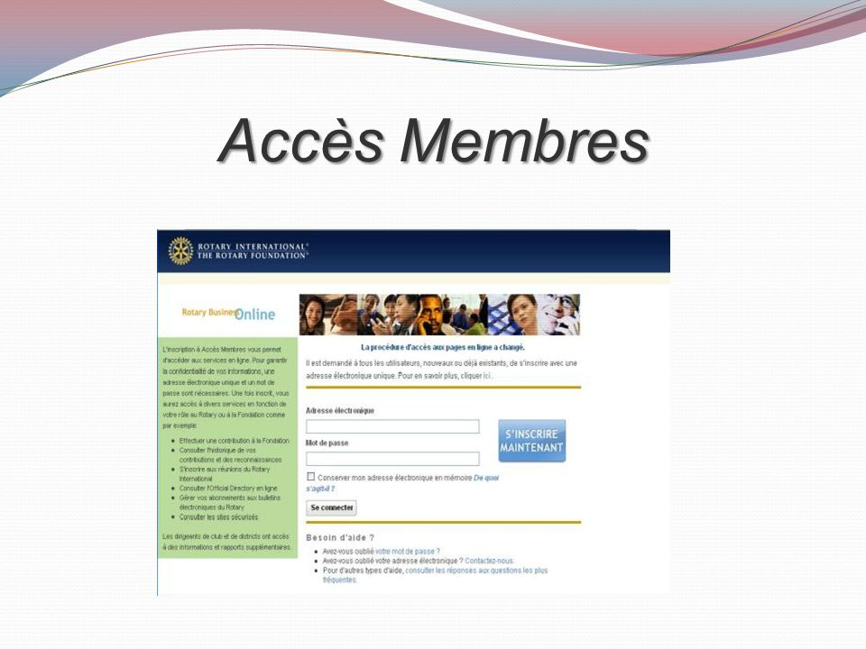 Accès Membres Make sure participants understand how to find Member Access on the website