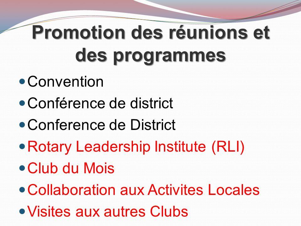 Promotion des réunions et des programmes