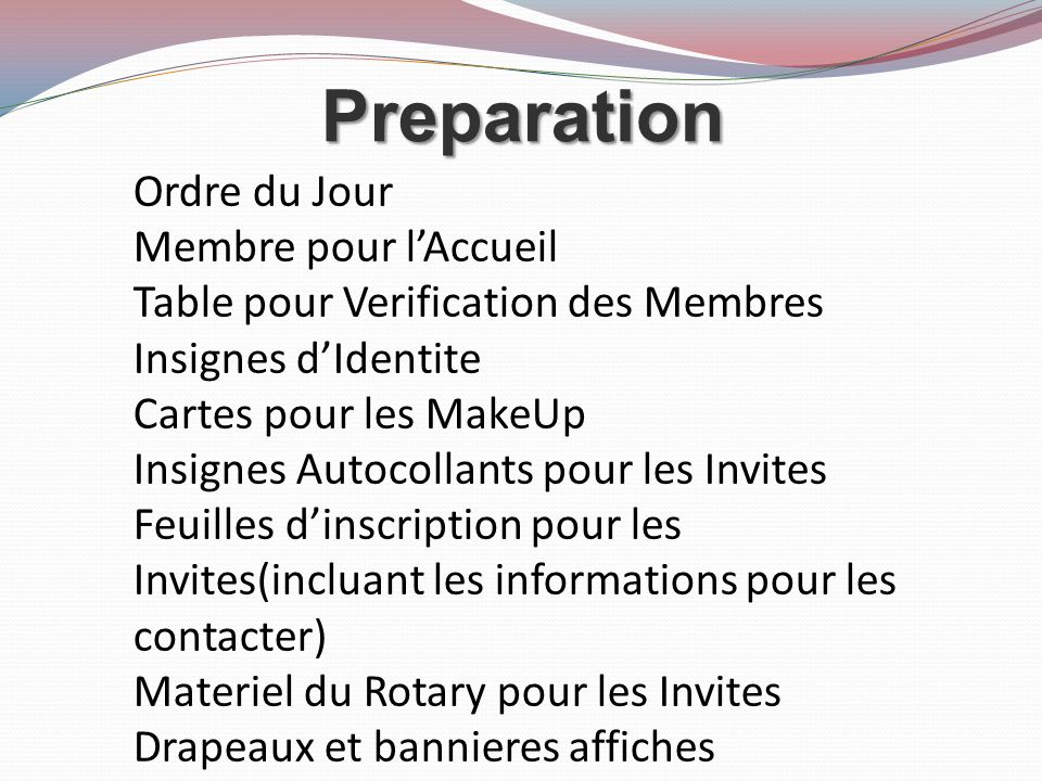 Preparation Ordre du Jour Membre pour l'Accueil