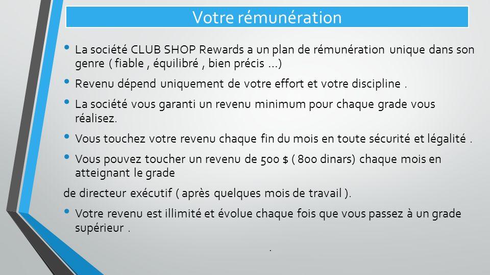 Votre rémunération La société CLUB SHOP Rewards a un plan de rémunération unique dans son genre ( fiable , équilibré , bien précis …)