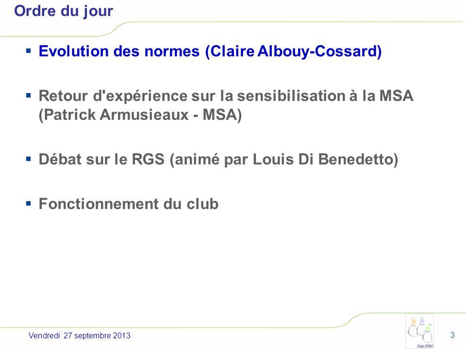 Evolution des normes (Claire Albouy-Cossard)