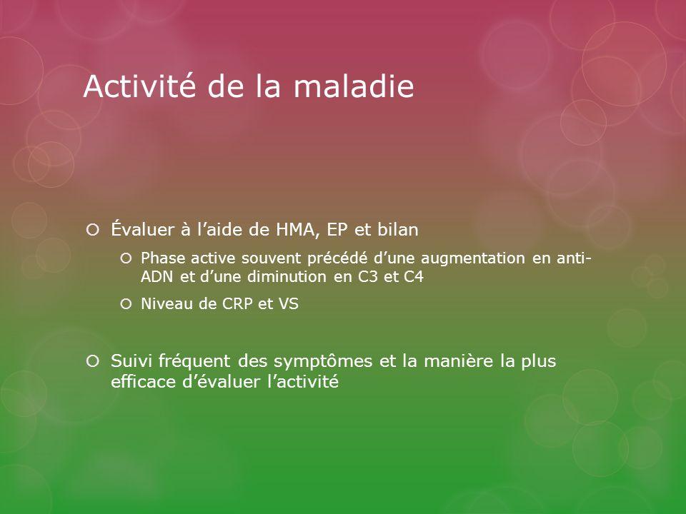 Activité de la maladie Évaluer à l'aide de HMA, EP et bilan