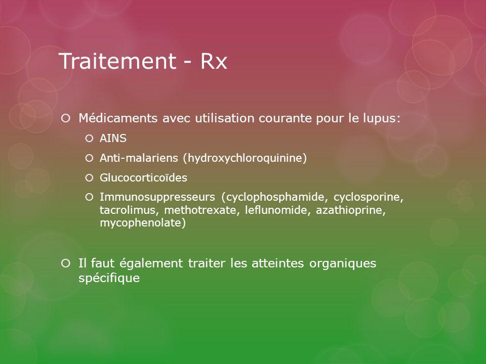 Traitement - Rx Médicaments avec utilisation courante pour le lupus: