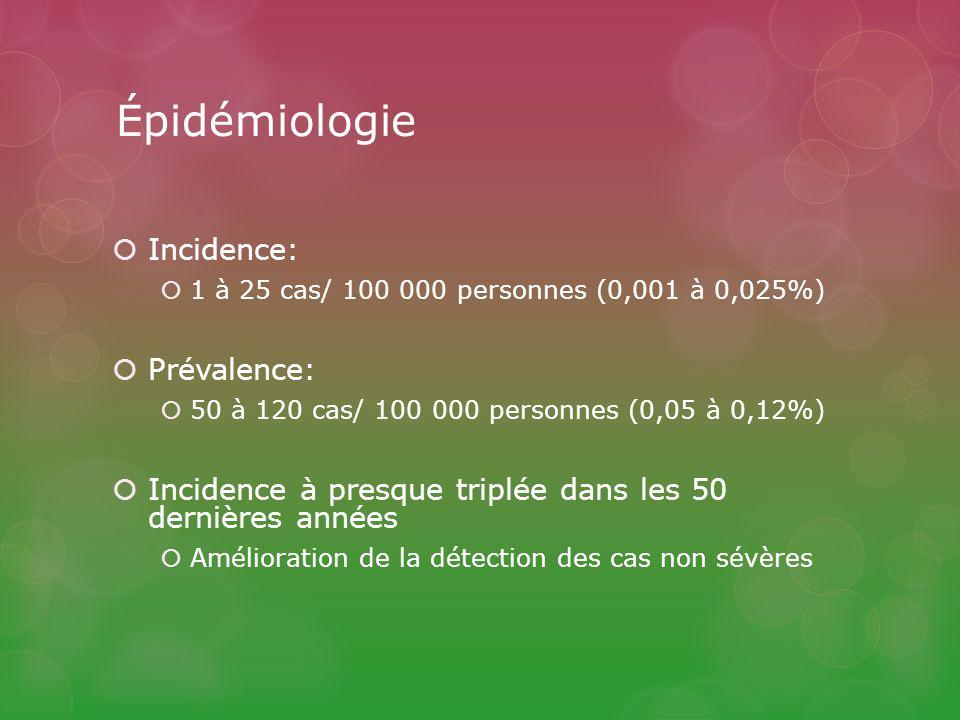 Épidémiologie Incidence: Prévalence: