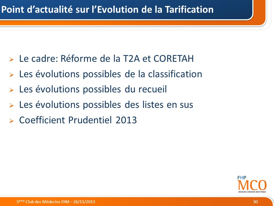 Point d'actualité sur l'Evolution de la Tarification