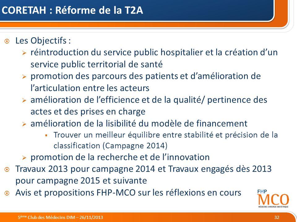 CORETAH : Réforme de la T2A
