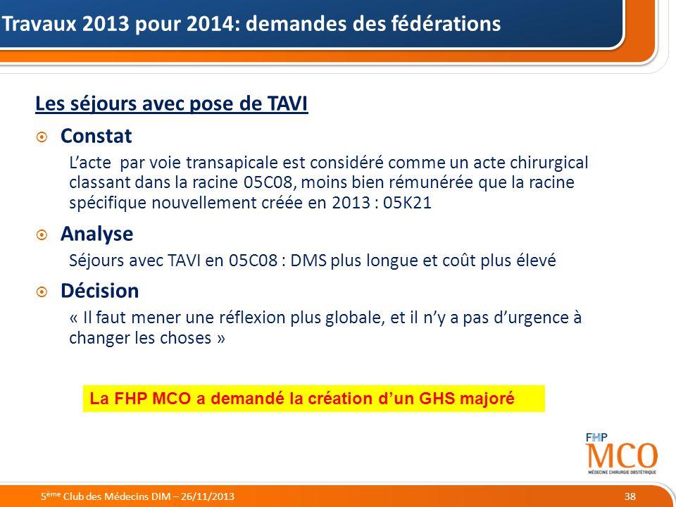 Travaux 2013 pour 2014: demandes des fédérations