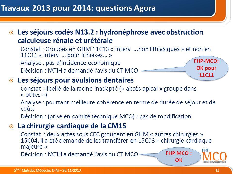 Travaux 2013 pour 2014: questions Agora