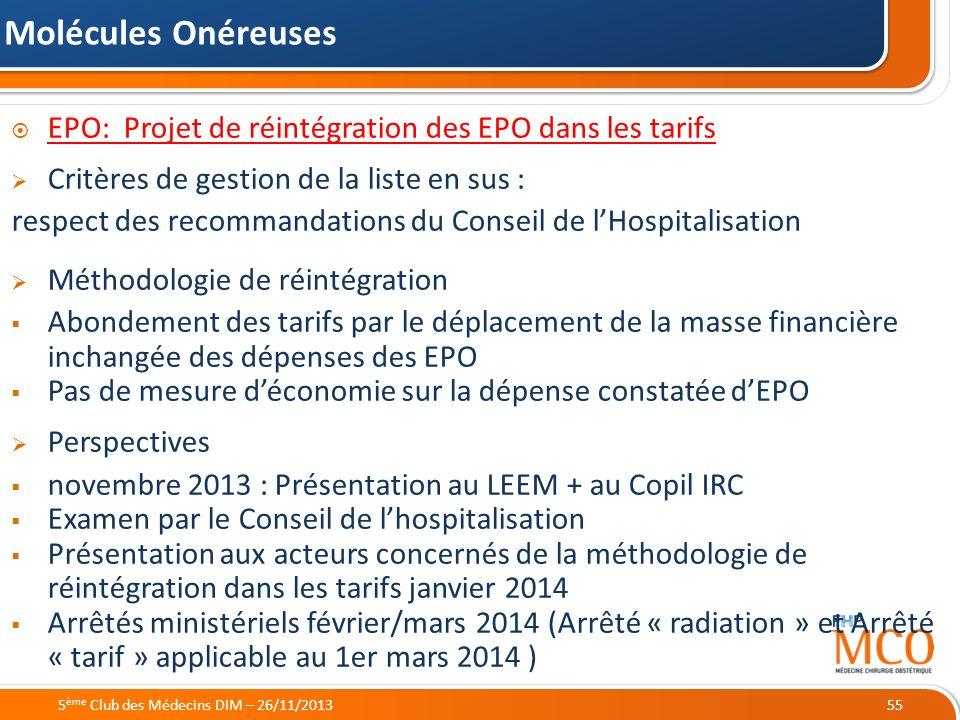Molécules Onéreuses EPO: Projet de réintégration des EPO dans les tarifs. Critères de gestion de la liste en sus :