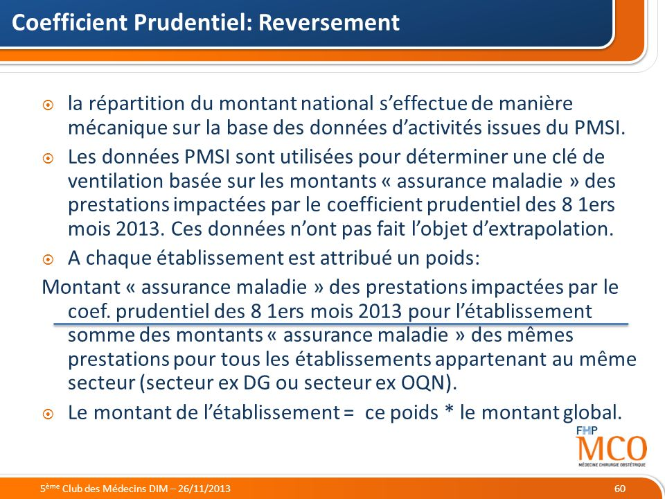 Coefficient Prudentiel: Reversement