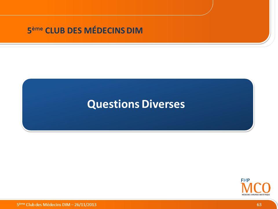 Questions Diverses 5ème CLUB DES MÉDECINS DIM