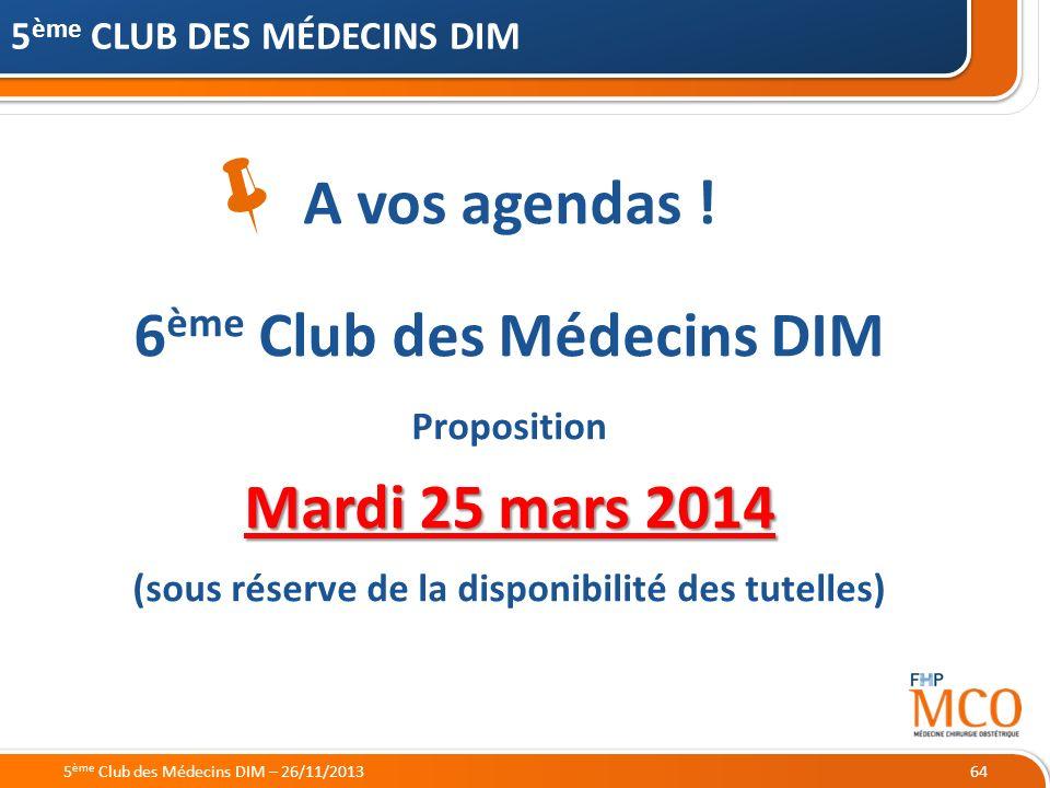  A vos agendas ! 6ème Club des Médecins DIM Mardi 25 mars 2014