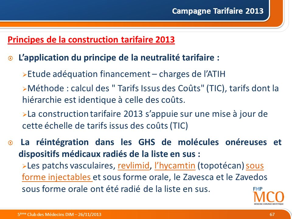 Principes de la construction tarifaire 2013