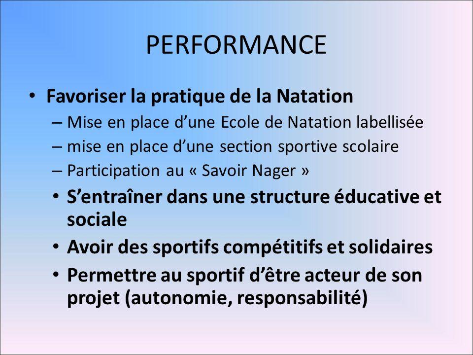 PERFORMANCE Favoriser la pratique de la Natation