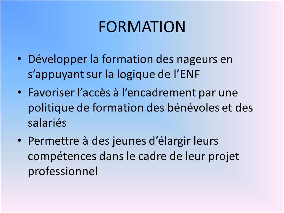 FORMATION Développer la formation des nageurs en s'appuyant sur la logique de l'ENF.