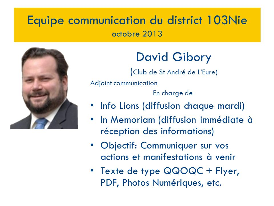 Equipe communication du district 103Nie octobre 2013