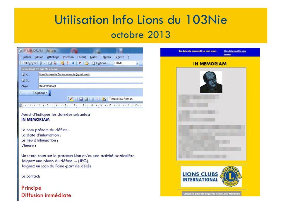 Utilisation Info Lions du 103Nie octobre 2013