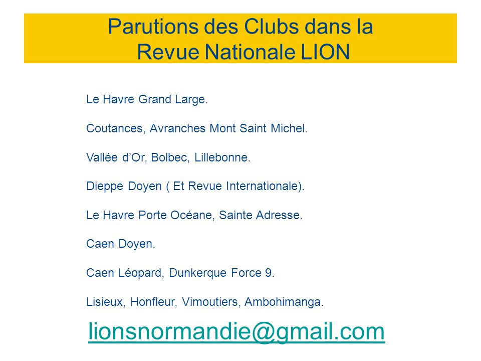 Parutions des Clubs dans la Revue Nationale LION