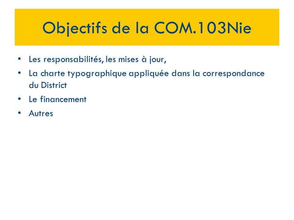 Objectifs de la COM.103Nie Les responsabilités, les mises à jour,