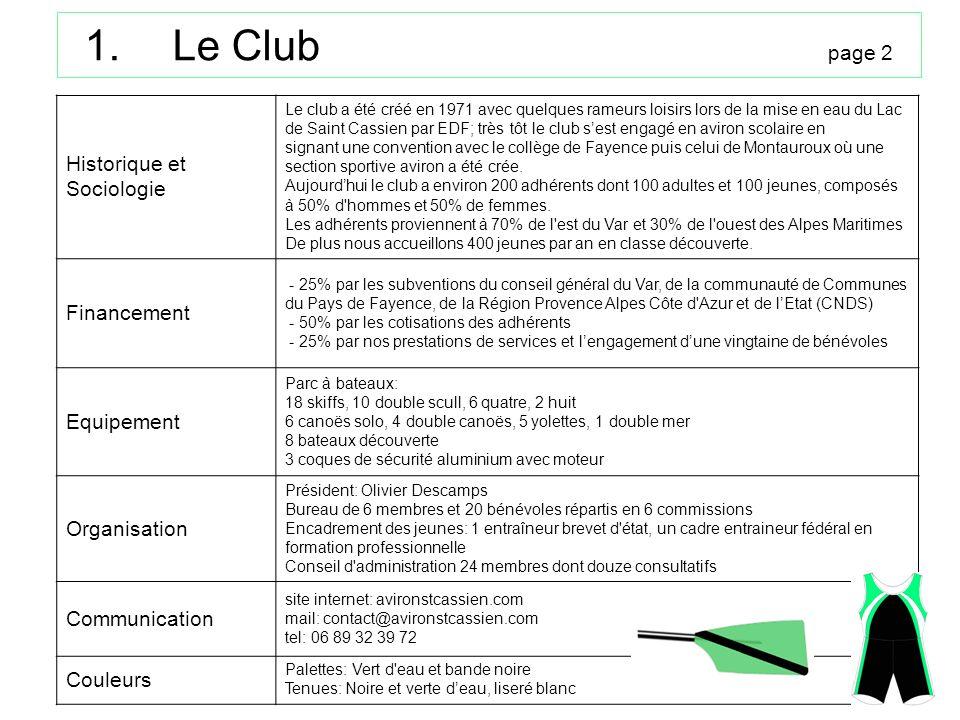Le Club page 2 Historique et Sociologie Financement Equipement
