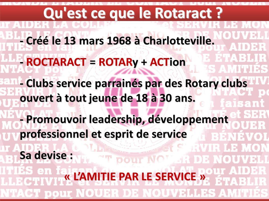 Qu est ce que le Rotaract « L'AMITIE PAR LE SERVICE »