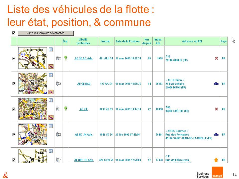 Liste des véhicules de la flotte : leur état, position, & commune