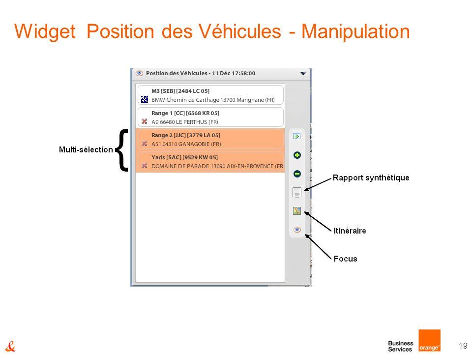 Widget Position des Véhicules - Manipulation