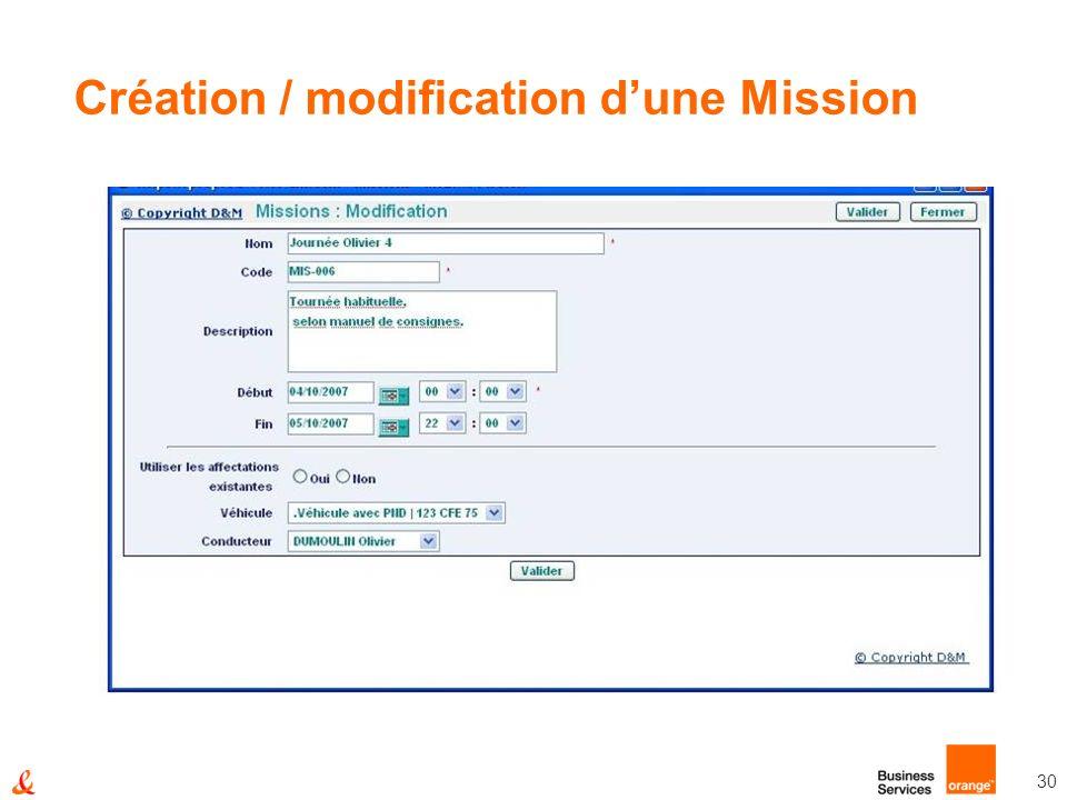 Création / modification d'une Mission