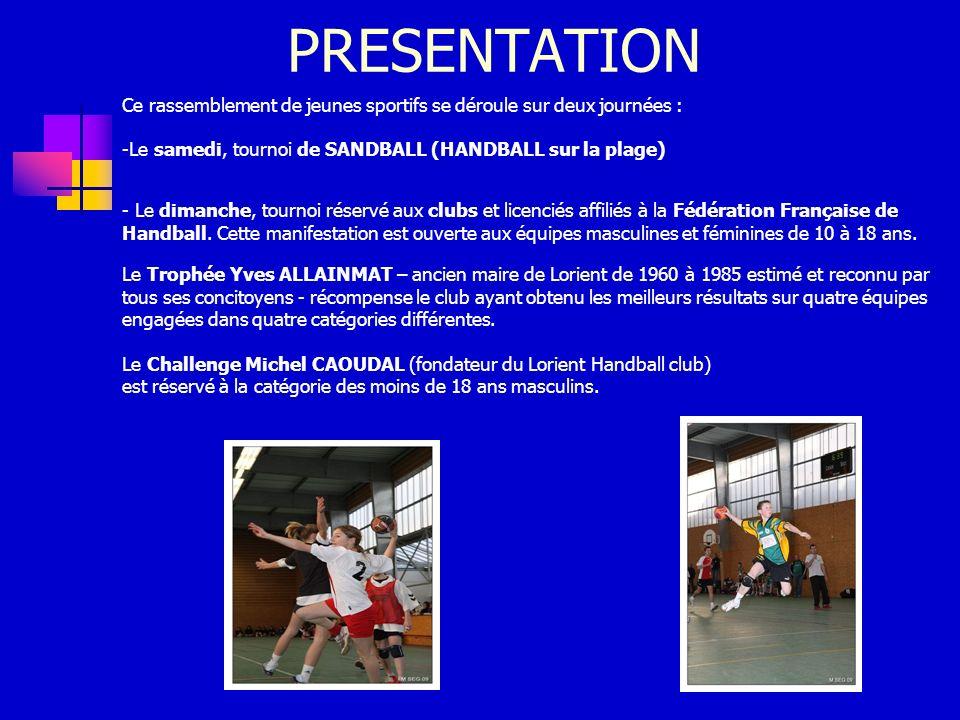 PRESENTATION Ce rassemblement de jeunes sportifs se déroule sur deux journées : Le samedi, tournoi de SANDBALL (HANDBALL sur la plage)