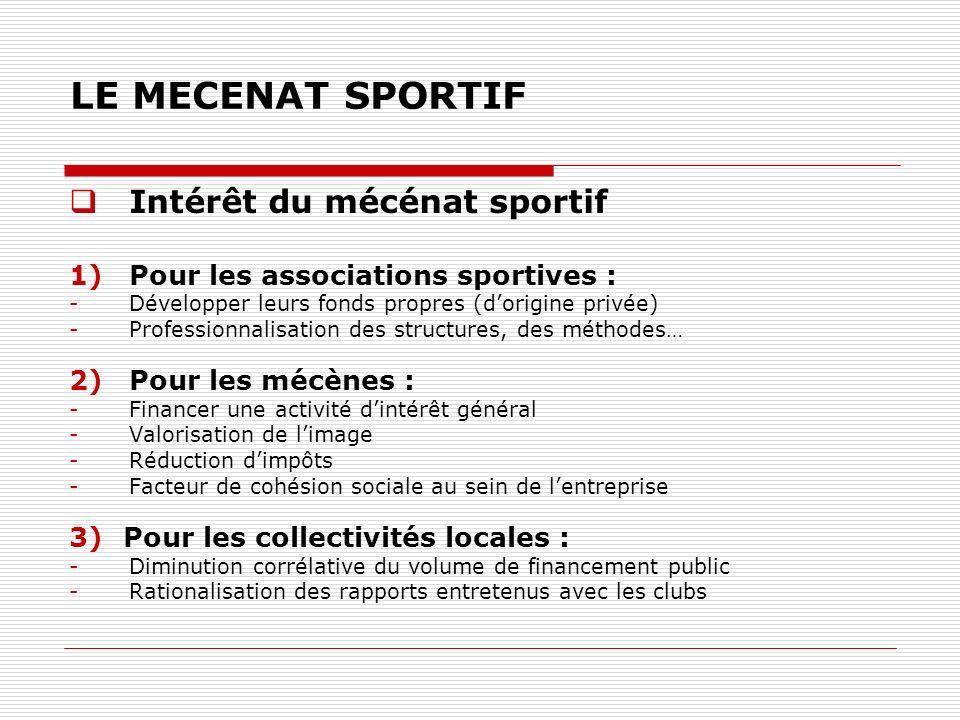 LE MECENAT SPORTIF Intérêt du mécénat sportif