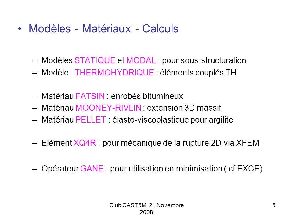 Modèles - Matériaux - Calculs