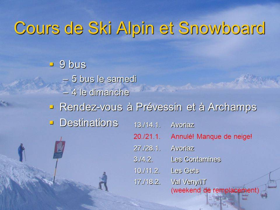 Cours de Ski Alpin et Snowboard