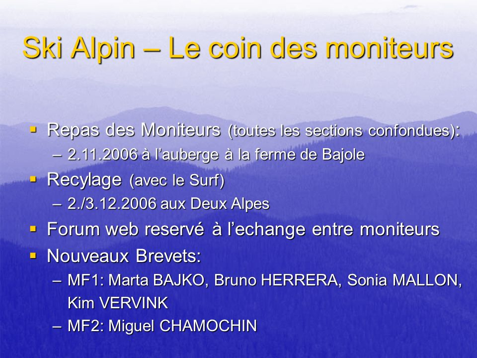 Ski Alpin – Le coin des moniteurs