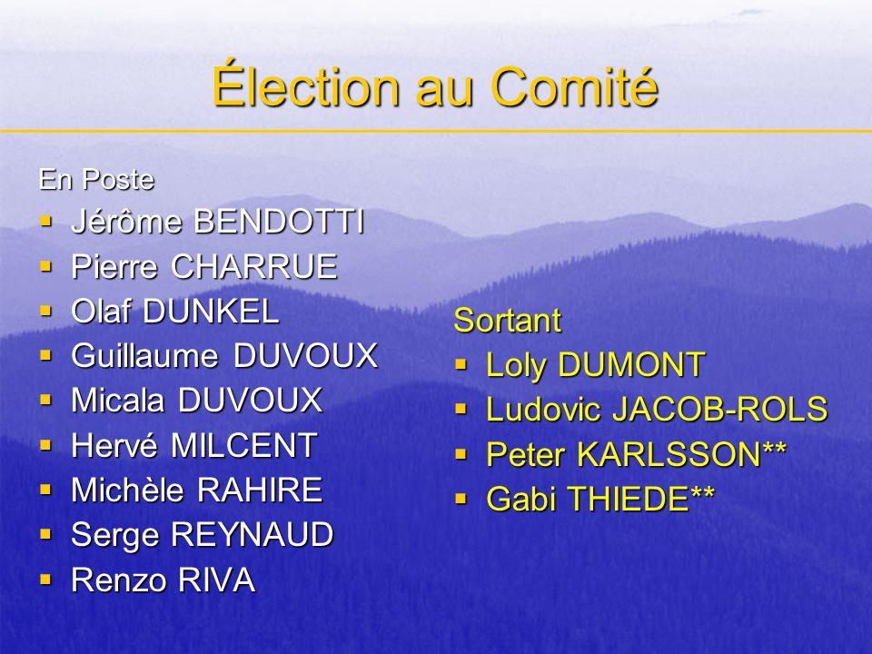 Élection au Comité Jérôme BENDOTTI Pierre CHARRUE Olaf DUNKEL