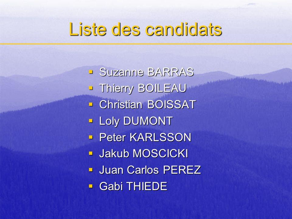 Liste des candidats Suzanne BARRAS Thierry BOILEAU Christian BOISSAT