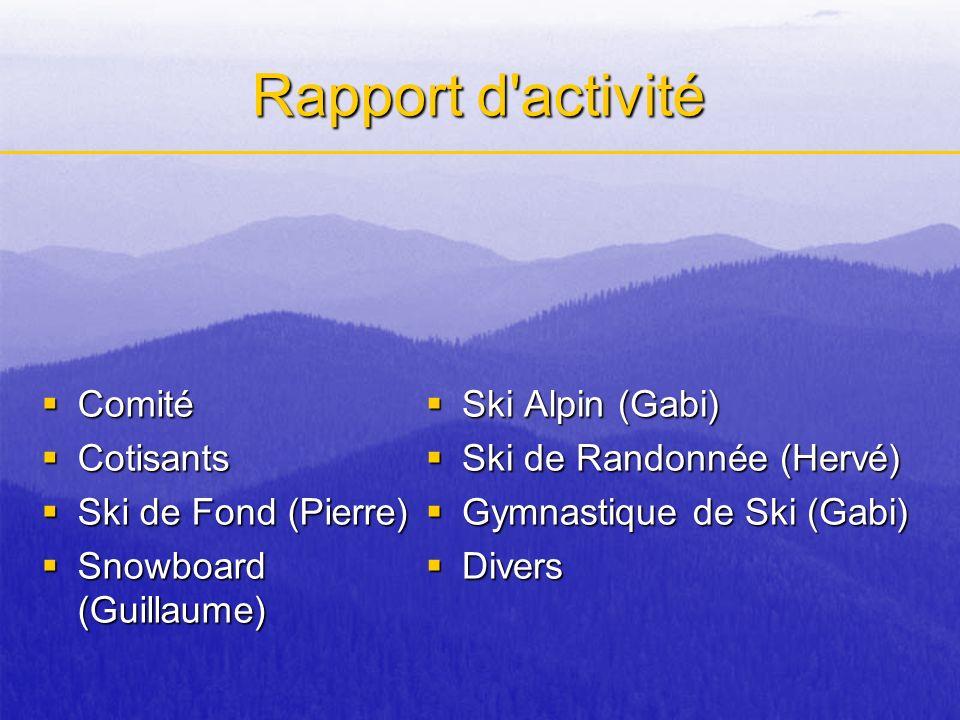 Rapport d activité Comité Cotisants Ski de Fond (Pierre)