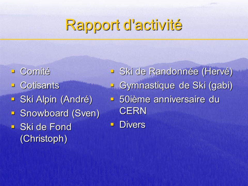 Rapport d activité Comité Cotisants Ski Alpin (André) Snowboard (Sven)