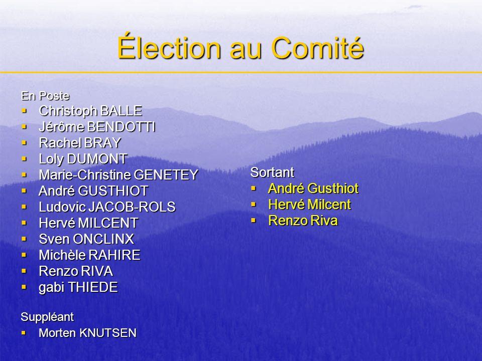 Élection au Comité Christoph BALLE Jérôme BENDOTTI Rachel BRAY