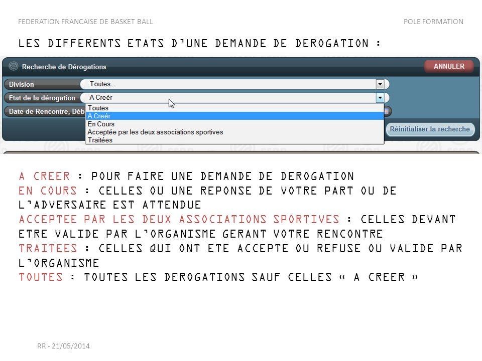 LES DIFFERENTS ETATS D'UNE DEMANDE DE DEROGATION :