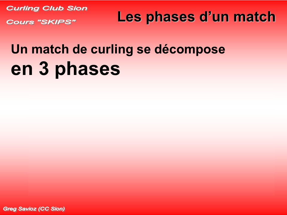 Curling Club Sion Cours SKIPS Les phases d'un match