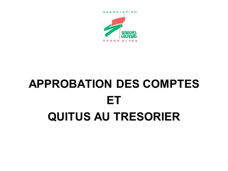 APPROBATION DES COMPTES
